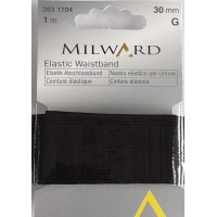 Elastic Waistband: 1m x 30mm: Black
