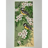 Printed Aida Fabric: Titmouse Birds