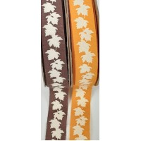 15mm Cotton Autumn Leaf Printed Ribbon