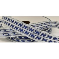 16mm Wired Lurex Lined Ribbon- Blue