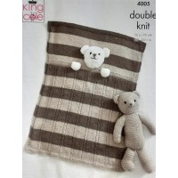 Baby Blankets and Teddy Bear Toy Knitted with Comfort DK & Cuddles DK