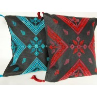 EMBROIDERED CUSHION WITH TASSELS